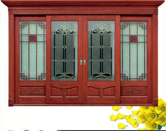 Red  Carve patterns solid Wooden Automatic telescoping sliding doors