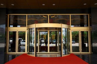 China Luxurious building entrance Automatic curved sliding door Of Aluminium / steel frame supplier