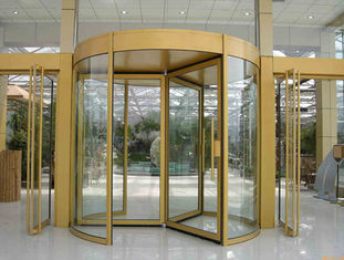 Security glass 2 wing golden automatic revolving door Of aluminium frame