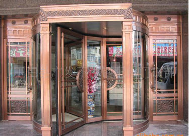 Bronze Engraving Flower Hotel entrance automatic revolving door OEM service