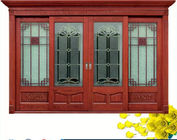China Red  Carve patterns solid Wooden Automatic telescoping sliding doors company