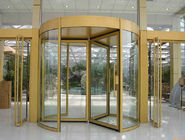 China Security glass 2 wing golden automatic revolving door Of aluminium frame factory