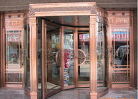 China Bronze Engraving Flower Hotel entrance automatic revolving door OEM service factory