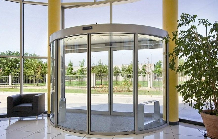 Stadium entrance remote control automatic curved sliding for Sliding door main entrance